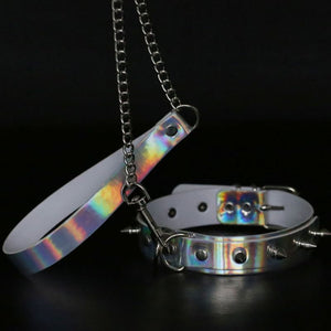 Sexy PU Laser Reflective Choker Rivet Necklace Male Female Sex Slave Training Torture Toy SM Flirting Nightclub Product