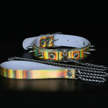 Load image into Gallery viewer, Sexy PU Laser Reflective Choker Rivet Necklace Male Female Sex Slave Training Torture Toy SM Flirting Nightclub Product