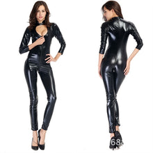 Load image into Gallery viewer, Sexy Wet Look Faux Leather Catsuit PVC Latex Bodysuit Front Zipper Open Crotch Club Wear Fetish Hot Erotic Pole Dance Lingerie