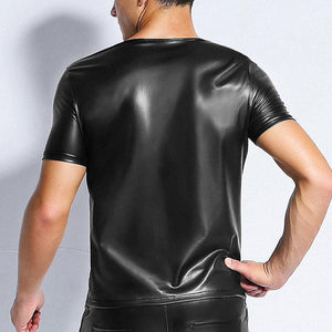 New Fitness Male Sexy Hormones Tees Muscle Faux Leather Spliced See Through Mesh Short Sleeve Gay Gigolo Men T Shirt PVC Shirt