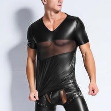 Load image into Gallery viewer, New Fitness Male Sexy Hormones Tees Muscle Faux Leather Spliced See Through Mesh Short Sleeve Gay Gigolo Men T Shirt PVC Shirt