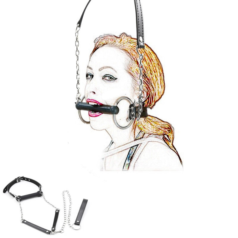 Mouth Gag Ball,Leash Chain Attached,Leather Dog Pet Bone Harness Stick Restraint,BDSM Bondage Sex Toys Cosplay