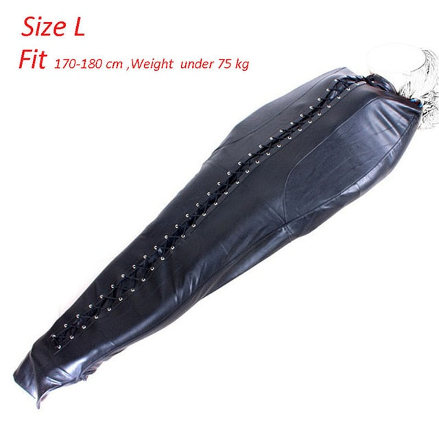 PU Leather Mermaid Mummy Sleeping Sack Bag Full Body Sex BDSM Binder Bondage Slave Restraints Gear Body Harness Belt Sack Toys