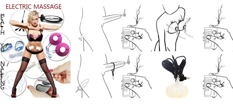 Professional Pulse Bell Nipples Clips Healthy Breast/ Clitoris Massages Pads Electric Shock Stimulate Anal Medical Themed Sex Toy
