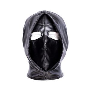 Double layer BDSM Bondage Hood Mask Zipper Closed Erotic Toy, Blackout Mask Blindfold,Head Harness Cosplay Halloween Accessories