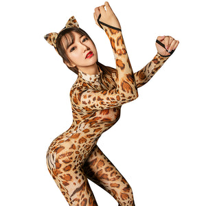 Sexy Lingerie Sexy Leopard Shiny 2 Two Way Zipper Open Crotch Bust Transparent Bodysuit Body Stockings Club Wear Catsuit