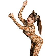 Load image into Gallery viewer, Sexy Lingerie Sexy Leopard Shiny 2 Two Way Zipper Open Crotch Bust Transparent Bodysuit Body Stockings Club Wear Catsuit