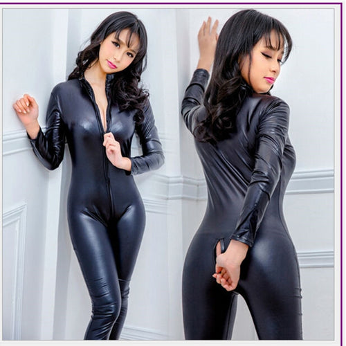 Women Hot Sexy Lingerie Black Jumpsuit Latex PVC Catsuit Costumes Open Crotch Babydoll Body Suits Pole Dance Nightclub Plus Size