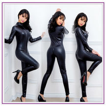 Load image into Gallery viewer, Women Hot Sexy Lingerie Black Jumpsuit Latex PVC Catsuit Costumes Open Crotch Babydoll Body Suits Pole Dance Nightclub Plus Size