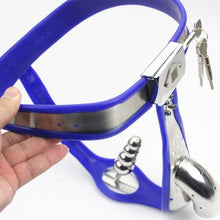 Load image into Gallery viewer, Male Chastity Belt Curve Waist Fully Adjustable Stainless Steel Chastity Belt With Penis Cage Anal Plug Sex Toy for Men