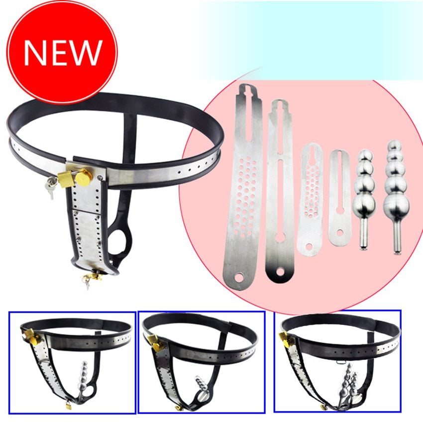 Stainless Steel Adjustable Model-T New Style Male Chastity Belt Sex Toys Games for Men and Women lock Underwear With Anal Plug