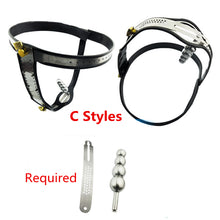 Load image into Gallery viewer, Stainless Steel Adjustable Model-T New Style Male Chastity Belt Sex Toys Games for Men and Women lock Underwear With Anal Plug