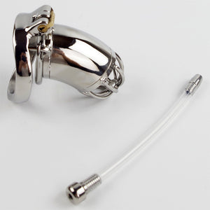 Stainless Steel Male Chastity Device With Silicone Urethral Sounds Catheter Spike Ring BDSM Sex Toys For Men