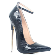 Load image into Gallery viewer, Sexy 18,cm 7,inch Stiletto Sharp Toe Ankle Wrap High Heel Women Pumps Spike Metal High Heel Bondage BDSM Rubber Shoes Fetish High