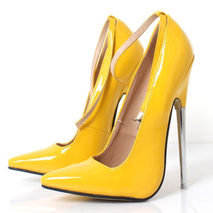 Sexy 18,cm 7,inch Stiletto Sharp Toe Ankle Wrap High Heel Women Pumps Spike Metal High Heel Bondage BDSM Rubber Shoes Fetish High