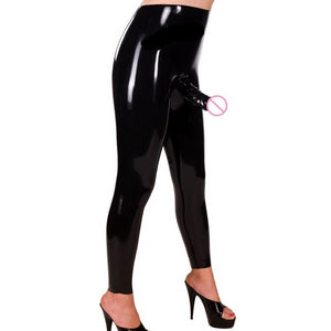 Latex Pants Women Exotic Pants Role Men x Latex Rubber Long Legging Fetish with Outside Dildo Sexy Lingerie