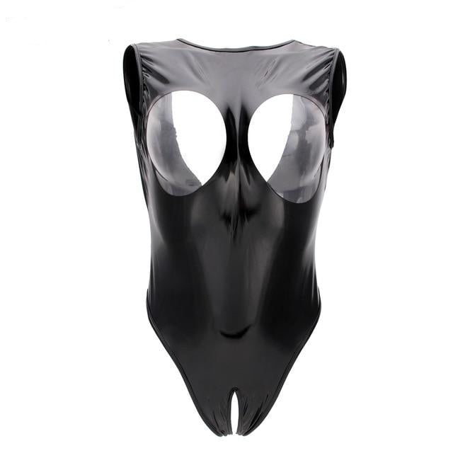 Sexy PVC Black Bodysuit Women High Cut Thong Open Crotch Cupless Hollow Bust Erotic Leotard Costumes Latex Bodysuit