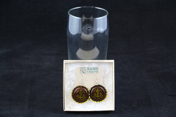 Anchor Brewing Company Dangle Bottle Cap Earrings