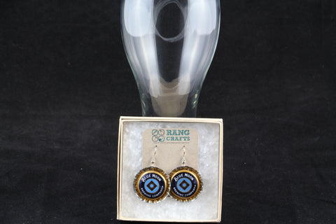 Blue Moon Dangle Bottle Cap Earrings
