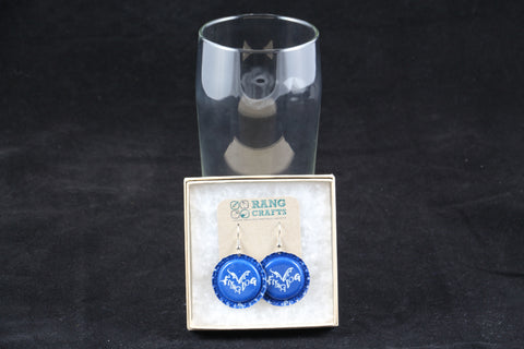 Flying Dog Brewery Dangle Bottle Cap Earrings