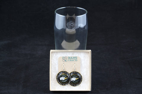 Goose Island Brewery Dangle Bottle Cap Earrings