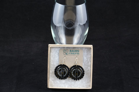 Guinness Dangle Bottle Cap Earrings