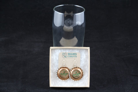 Harp Brewing Dangle Bottle Cap Earrings