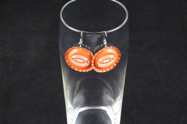 Kona Brewing Company Dangle Bottle Cap Earrings
