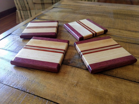 Purple Heart Pine Padauk Cherry Wood Coasters