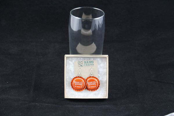 Samuel Adams Dangle Bottle Cap Earrings