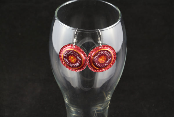 Shock Top Dangle Bottle Cap Earrings