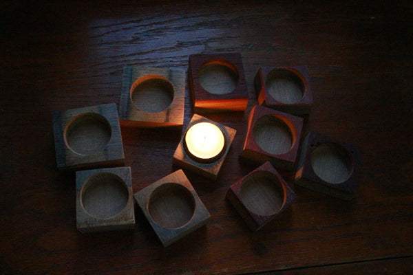 Wine Barrel Tea Light Candle Holder