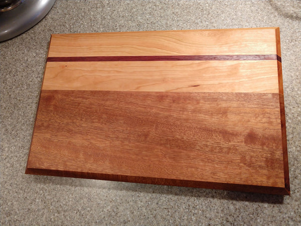 Wooden Cutting Board Sapele White Oak Purple Heart