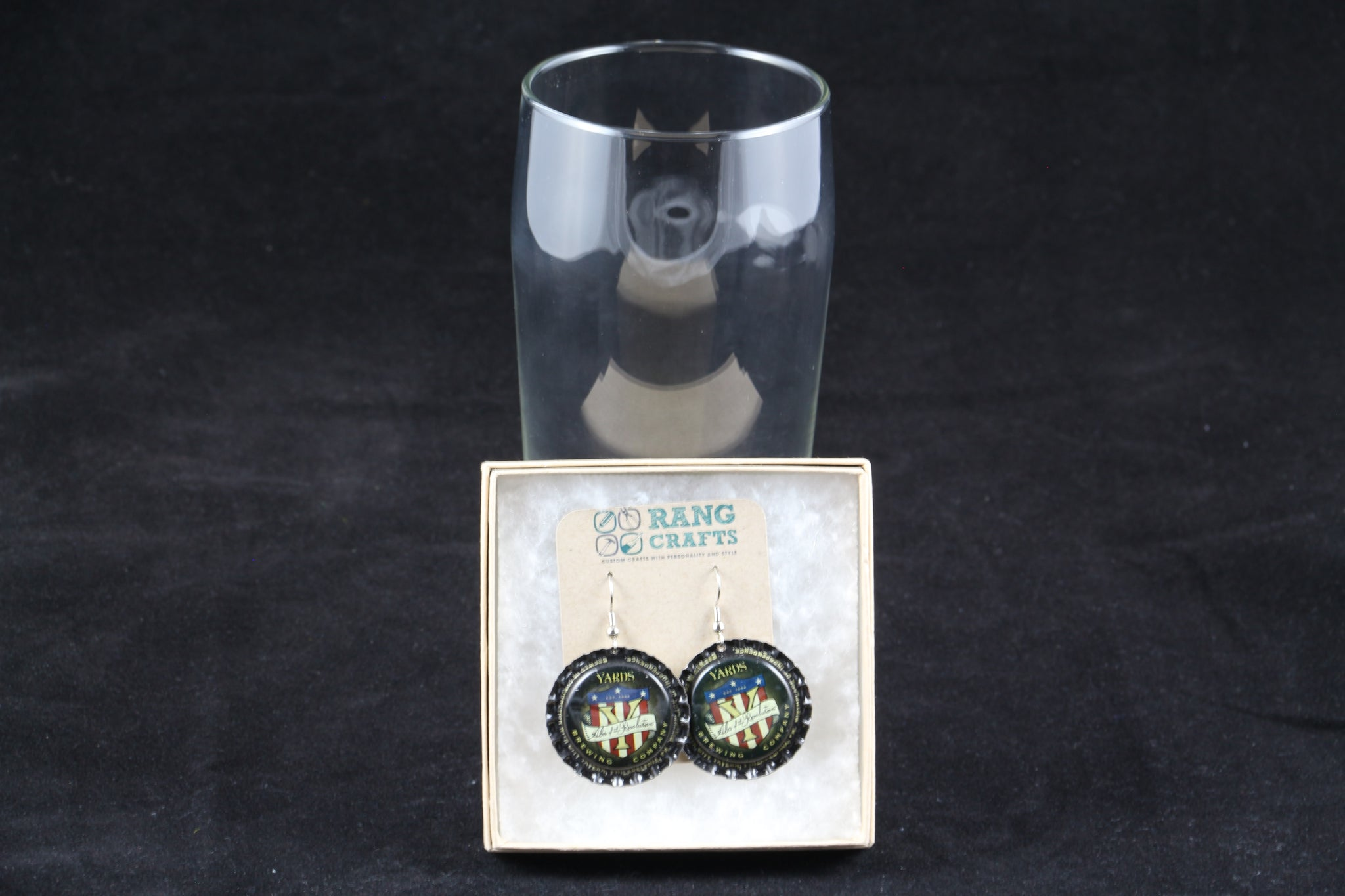 Yards Brewing Company Dangle Bottle Cap Earrings