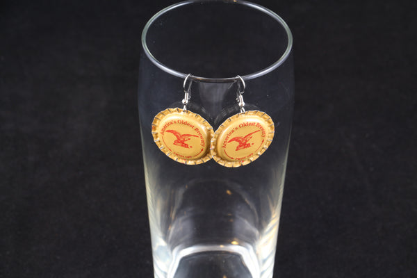 Yuengling Brewery Dangle Bottle Cap Earrings