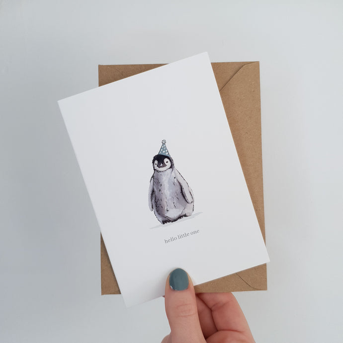 'Hello Little One' Penguin Card
