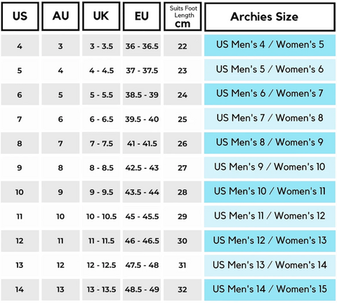 Archies Mens Sizing Chart