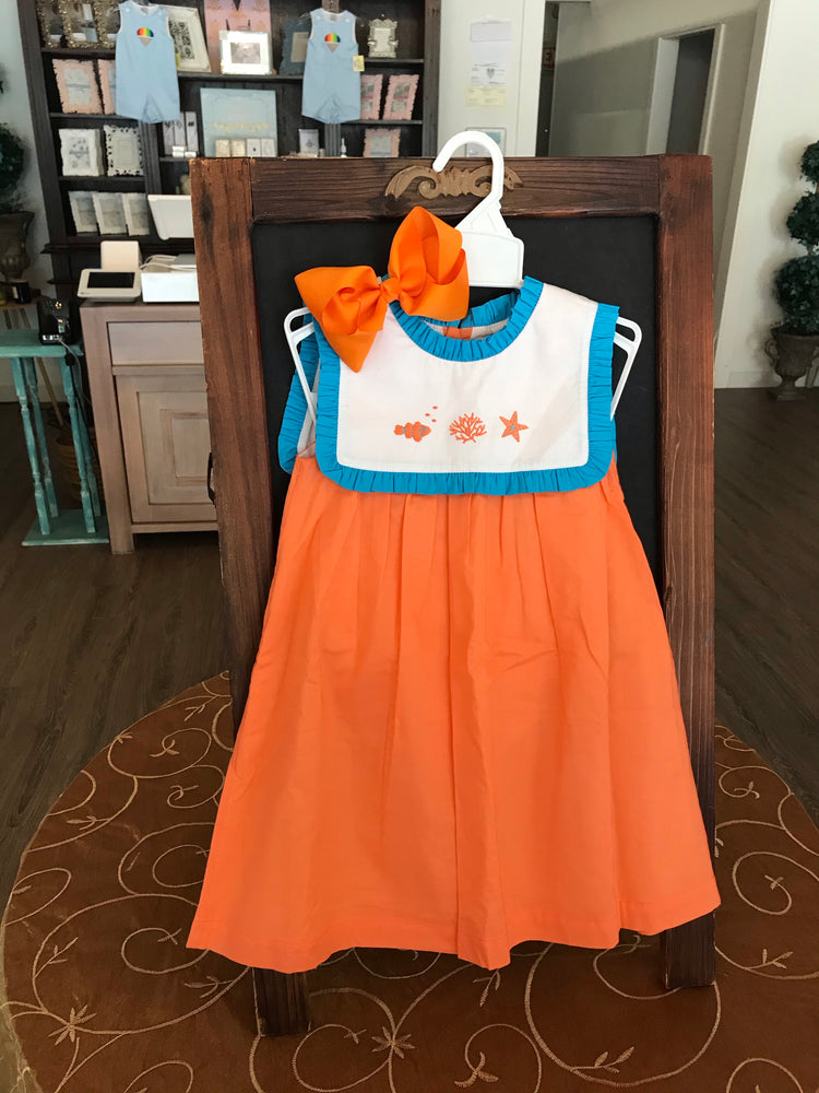 Orange and blue dress