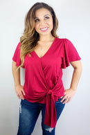 Pretty In Pink Loose Sleeve Knotted V Neck T Shirt
