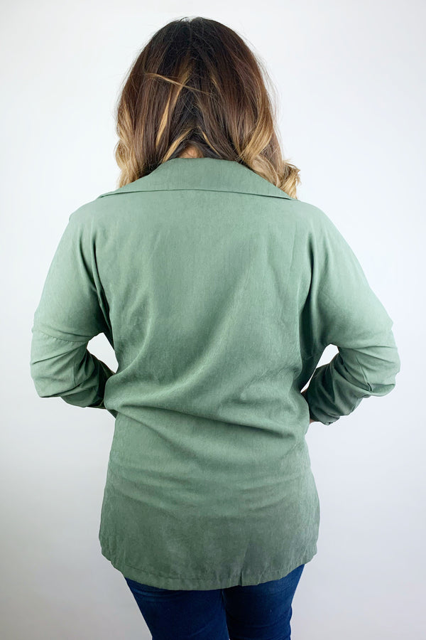 Blow Me Away Olive Green Wind Breaker Jacket
