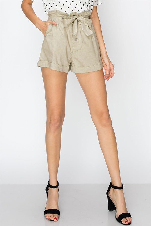 tie front paper bag shorts