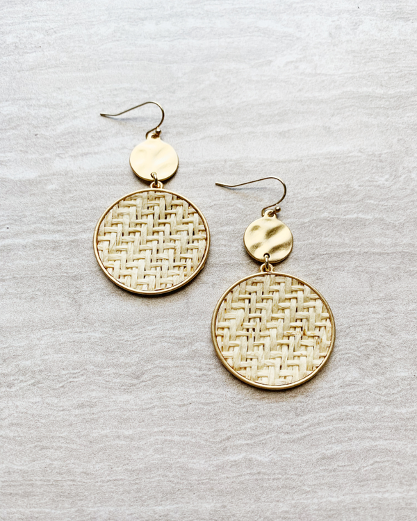 gold weave circle earrings