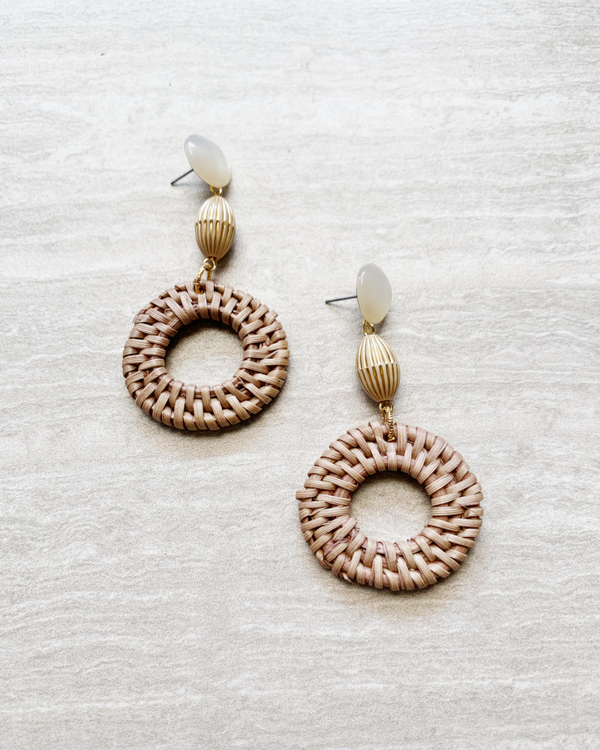 basket weave hoop earrings