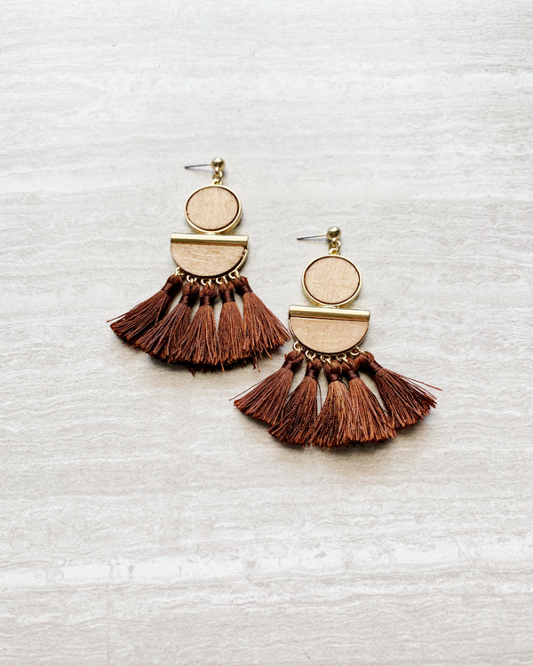brown drop fringe earrings