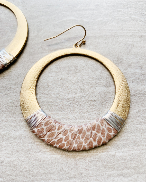 snake print gold hoop earrings