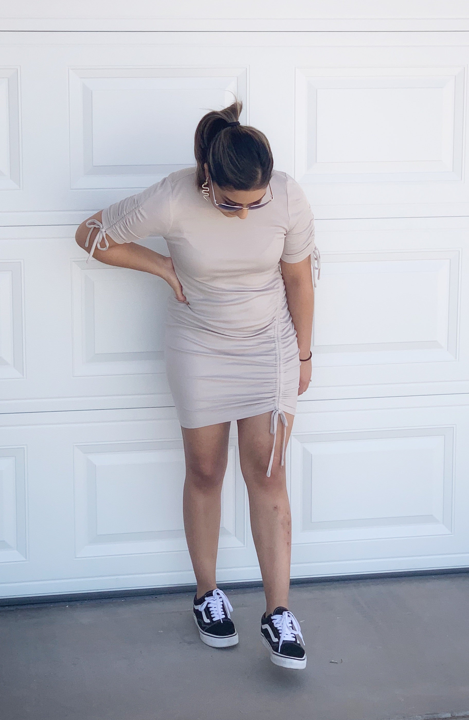 taupe side drawstring body con dress