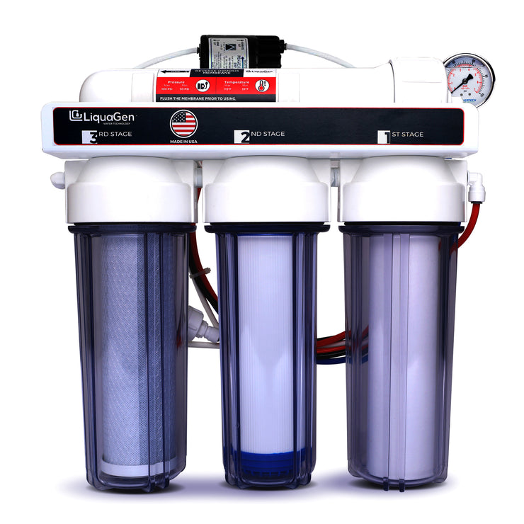 4- Stage Hydroponics RO Water Filter System + Waste Reducer Pump- 150 GPD - LiquaGen Water