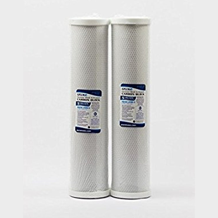"TWO BIG BLUE CARBON BLOCK WATER FILTERS - 20""X4.5"" 