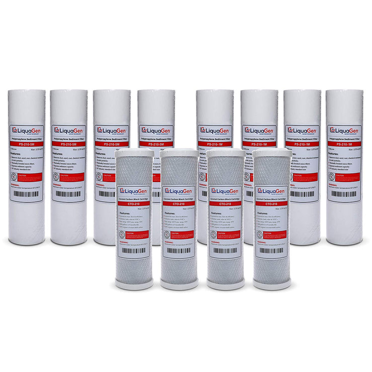 12 PCS REVERSE OSMOSIS (RO) REPLACEMENT WATER FILTER SET - LiquaGen Water