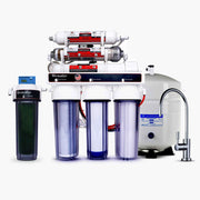 7-Stage Dual Under Sink Reverse Osmosis Deionization RODI + pH Anti-Oxidant Alkaline Water Drinking System | 3.2 Gallon Storage Tank + Faucet - LiquaGen Water